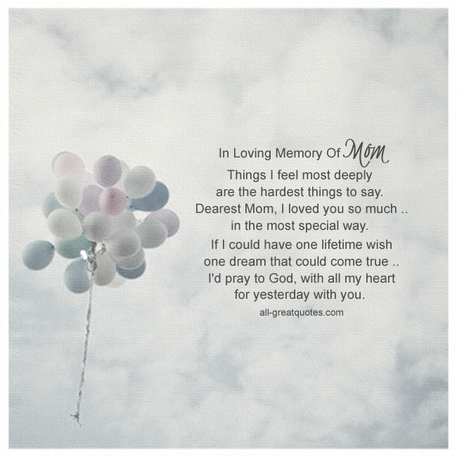 In Loving Memory Of Mom. Mother Grief Loss Memorial Poem Card.