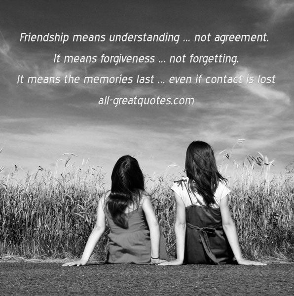 Friend Quotes Understanding : Friendship means understanding not agreement picture quotes