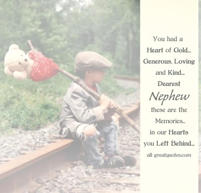 In Loving Memory Cards For Nephew You had a Heart of Gold Generous Loving and Kind
