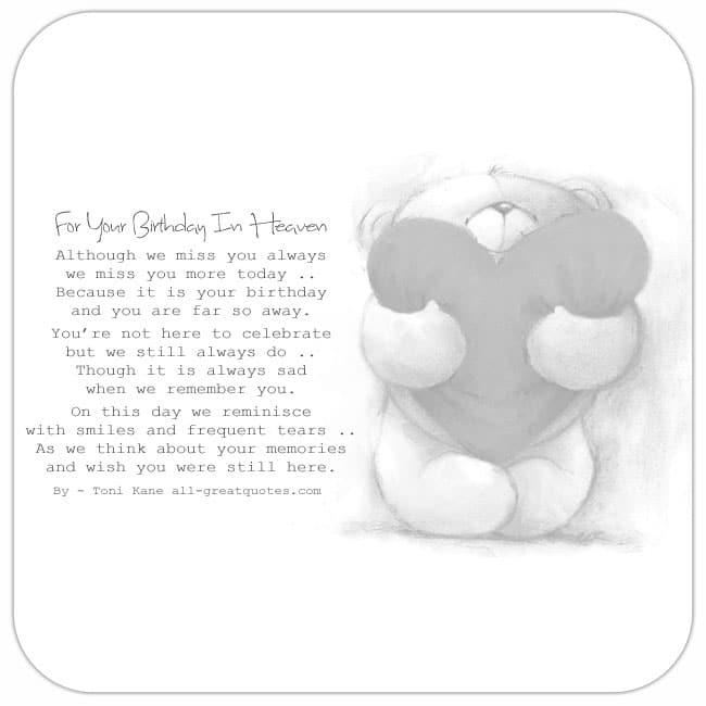 Birthday In Heaven Card, Teddy Card, Miss You Always