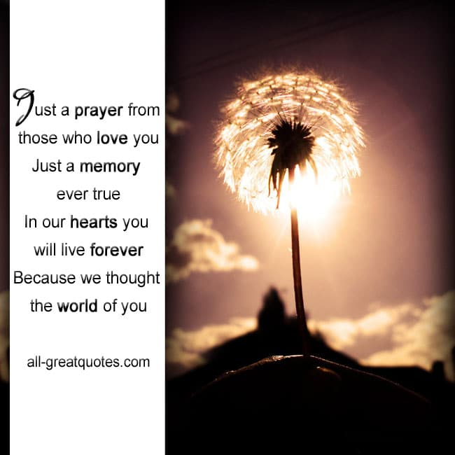 Free In Loving Memory Cards Just a prayer from those who love you