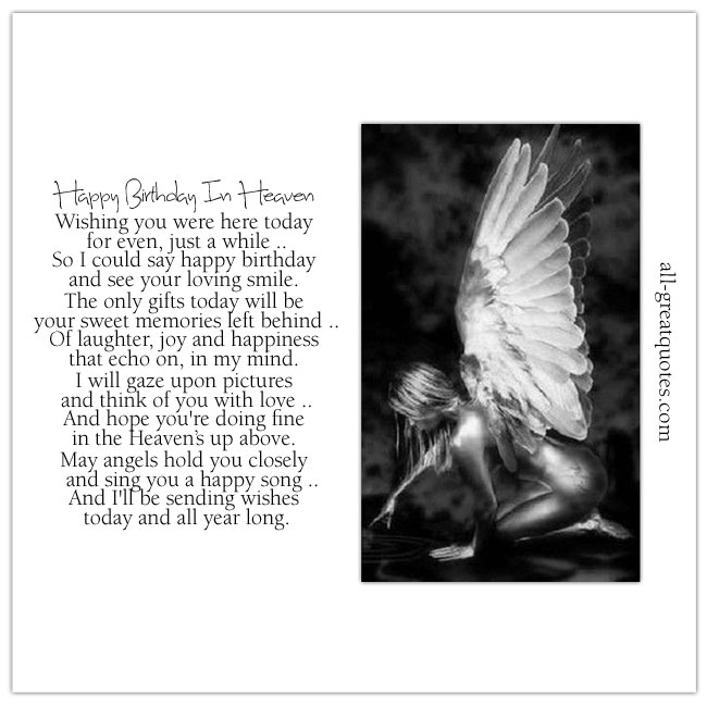 Image - Beautiful Kneeling Angel Picture. Card - Happy Birthday In Heaven