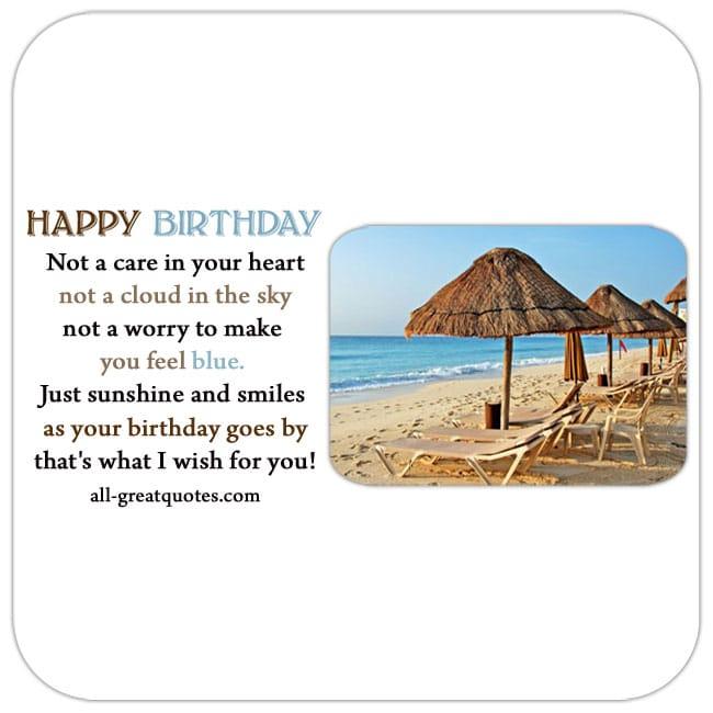 Happy Birthday Poem Card Beach Scene Nice Birthday Verse
