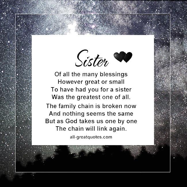 Sister Memorial Poem Card
