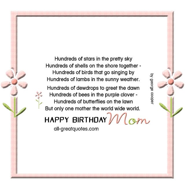 Happy birthday Mom card beautiful poem George Cooper