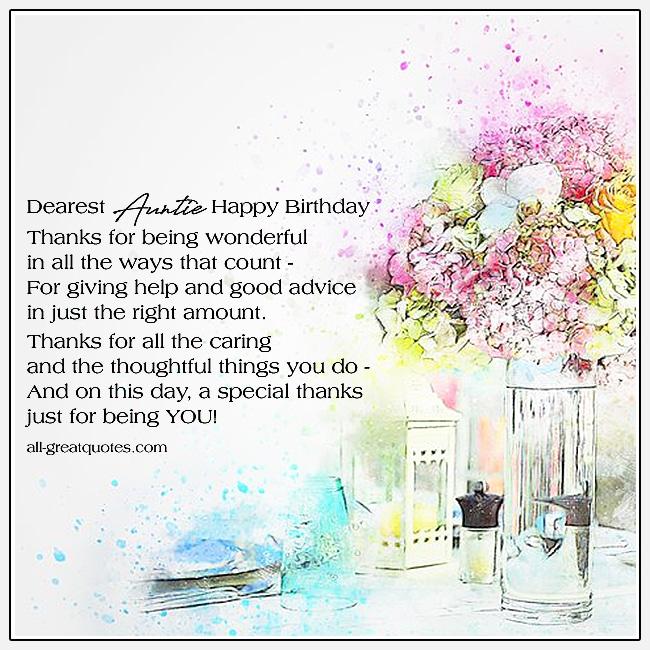 Dearest Auntie - Happy Birthday - Thanks for being wonderful
