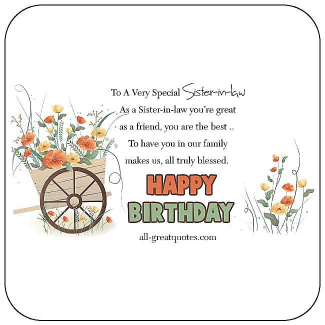Free birthday cards for Sister-in-law share Facebook