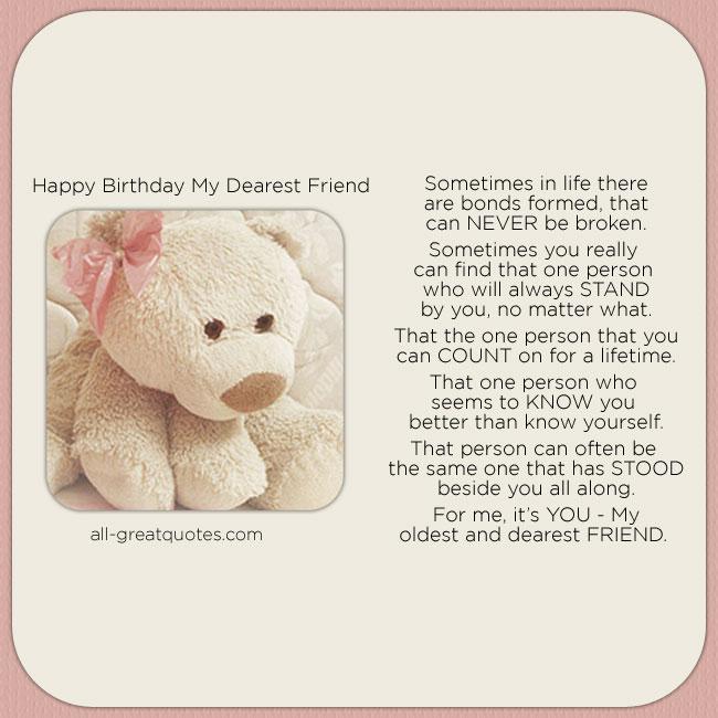my dearest friend: