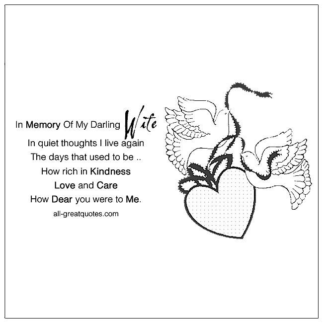 In Memory Of My Darling Wife Memorial Cards