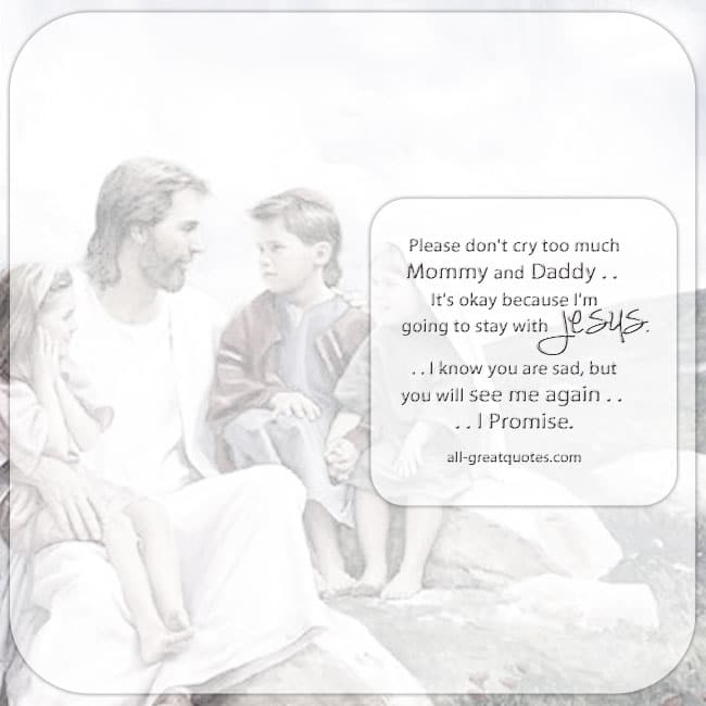 Jesus Children Memorial Quote Card Child loss