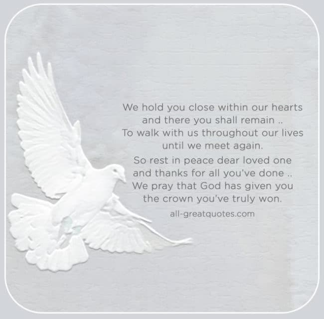 Grief Loss Memorial Poem Cards - We Hold You Close Within Our Hearts