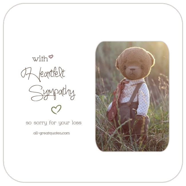 With Heartfelt Sympathy Card. Reads - So Sorry For Your Loss. Image - Very cute, sad teddy bear