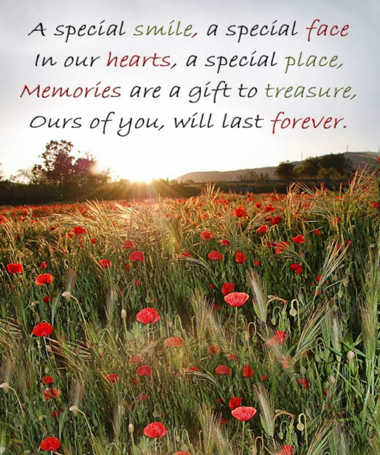 Memorial Cards - A special smile, a special face In our hearts, a special place