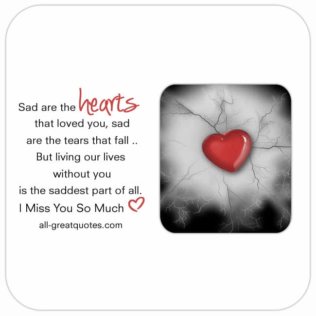 Grief Loss Poem Card. Reads sad are the hearts that loved you