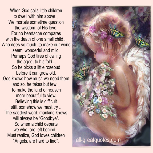 When God Calls Little Children | Child Grief Loss Cards
