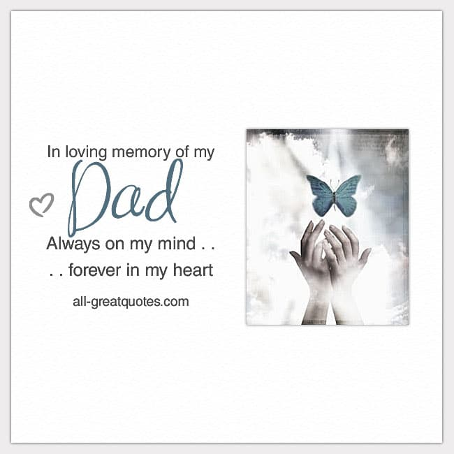 In loving memory of my dad always on my mind card