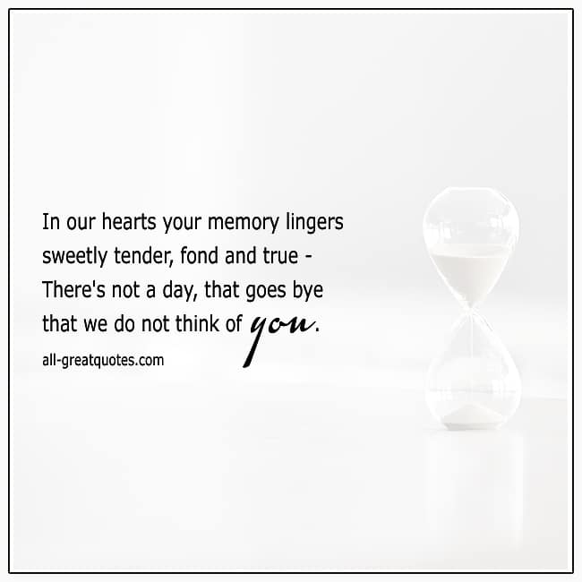 In Our Hearts Your Memory Lingers Grief Verse Cards