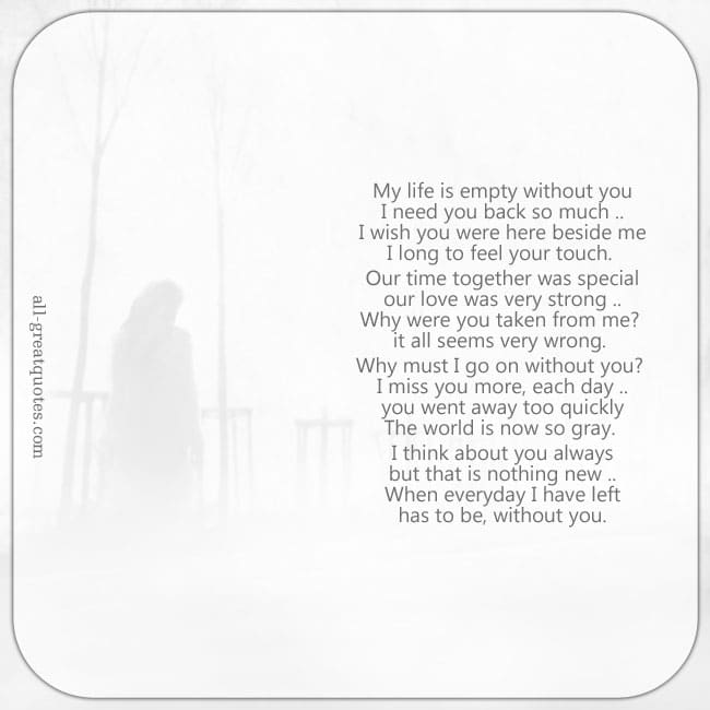 My life is empty without you, I need you back so much. grief loss poem