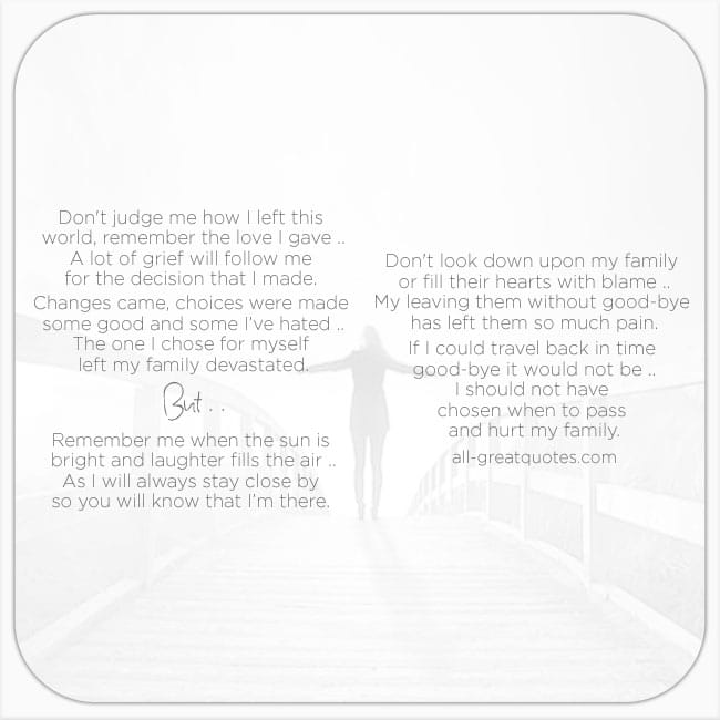 Remember Me Suicide Grief Loss Poem