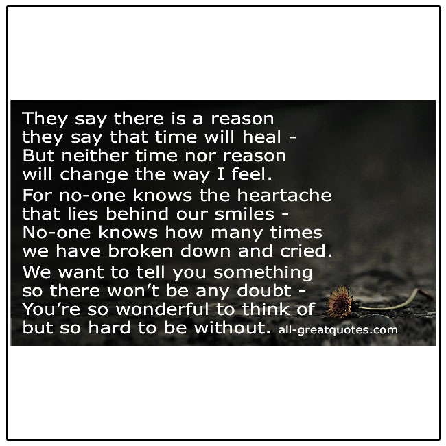 They Say There Is A Reason They Say That Time Grief Poem