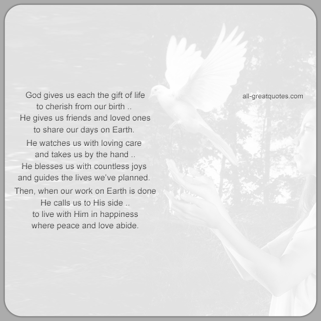 In Loving Memory Card Poem God Gives Us Each The Gift Of Life