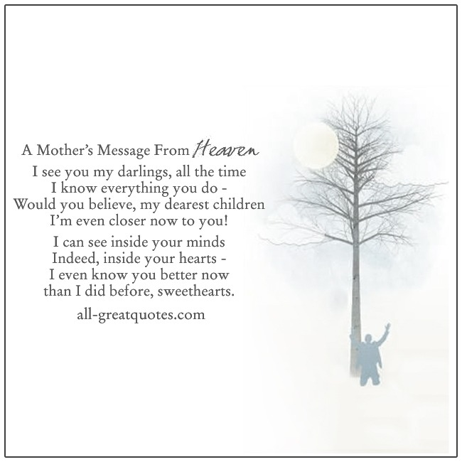 A Mother's Message From Heaven Loss Of Mom Grief Poems
