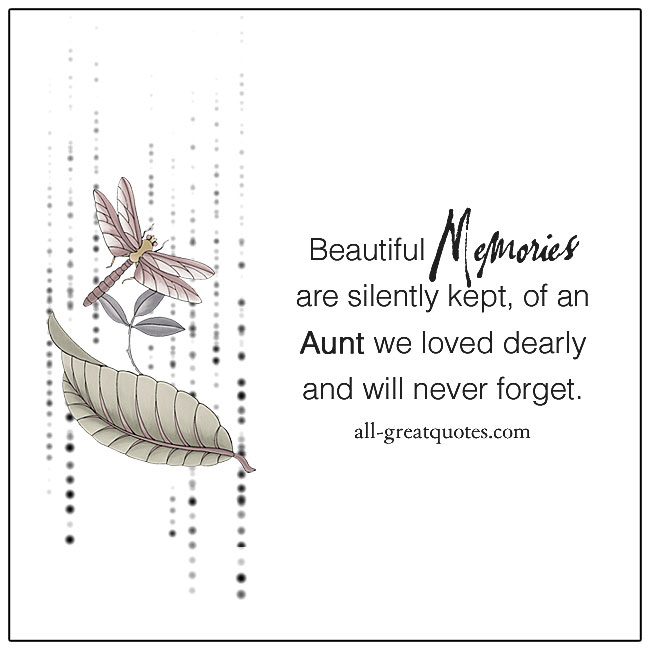 Beautiful memories are silently kept, of an aunt memorial cards