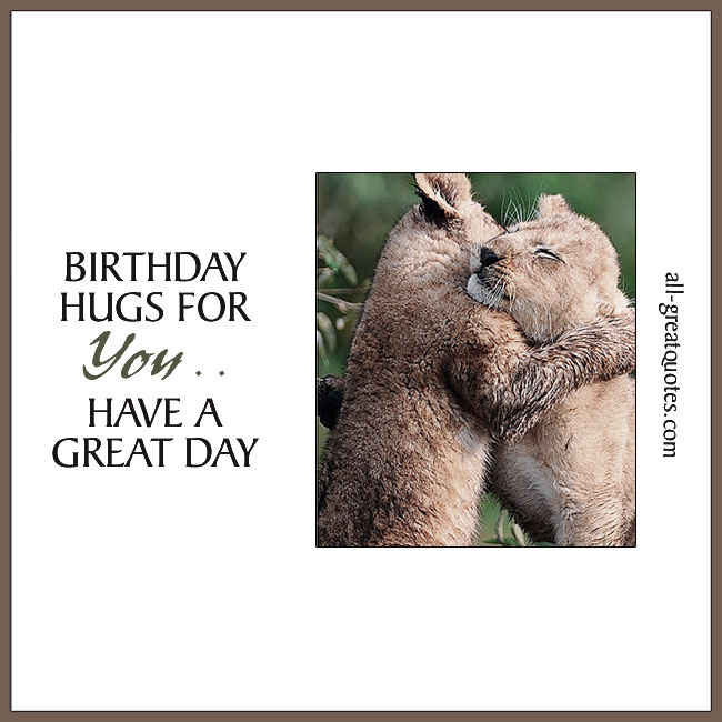 Birthday Hugs For You Hugging Lions Card