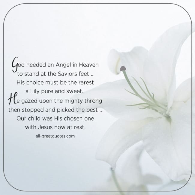 In Loving Memory Cards Child - God needed an Angel in Heaven To stand at the Saviors feet
