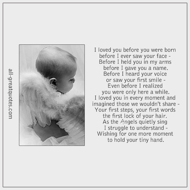 I Loved You Before You Were Born Before I Every Saw Your Face Baby Loss Poems