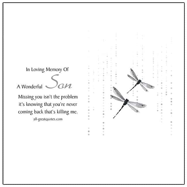 In Loving Memory Of A Wonderful Son Cards