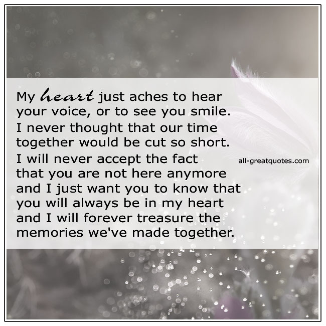 My Heart Just aches To Hear Your Voice Grief Quote Card