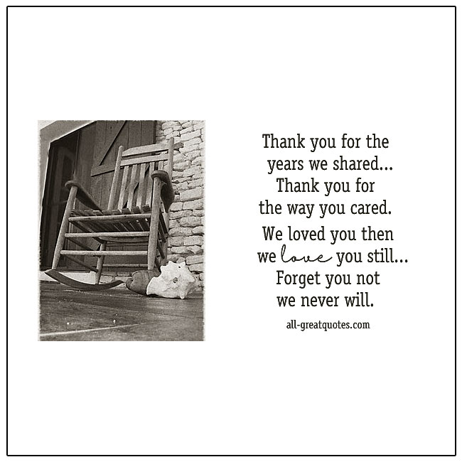 Thank You For The Years We Shared Grief Verse Card