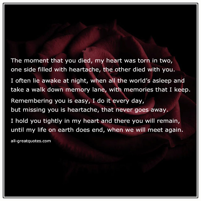 The Moment That You Died My Heart Was Torn In Two Grief Poem