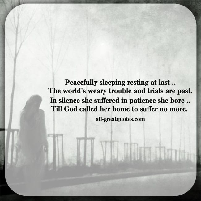 The world's weary troubles and trials are past poem card