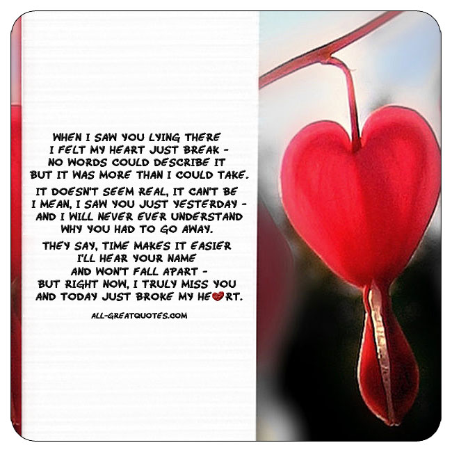 When I saw you lying there I felt my heart just break grief poems