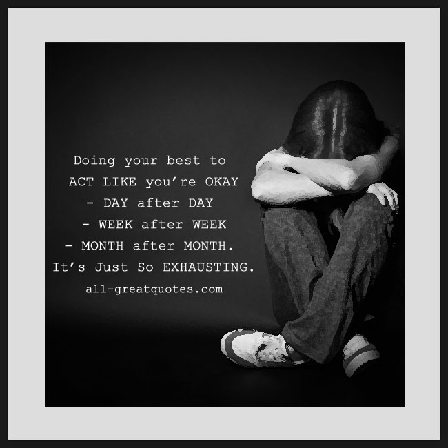 Doing your best to act like you're okay. Grief Loss Quote Cards.