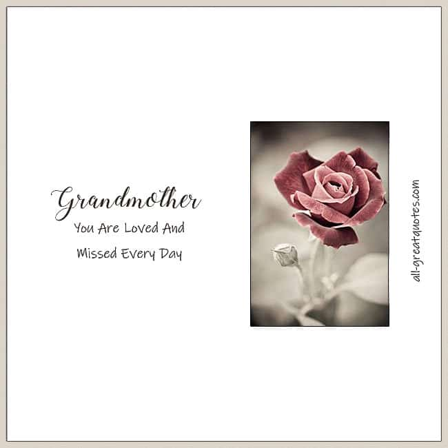 Grandmother You Are Loved And Missed Every Day Memorial Card With Rose