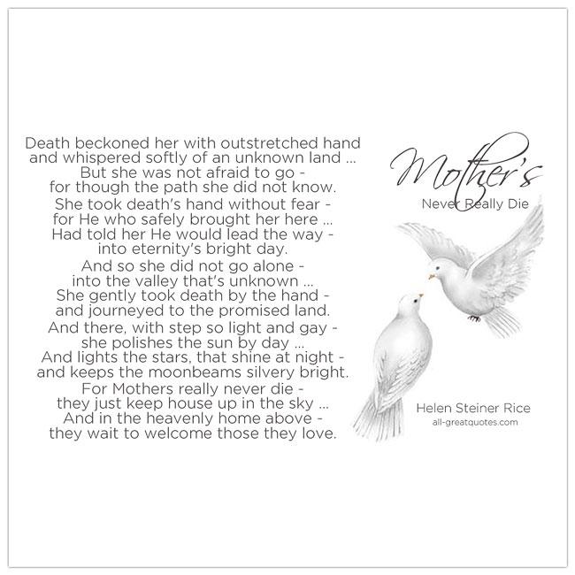 In Loving Memory Cards Mothers Never Really Die Helen Steiner Rice Poem