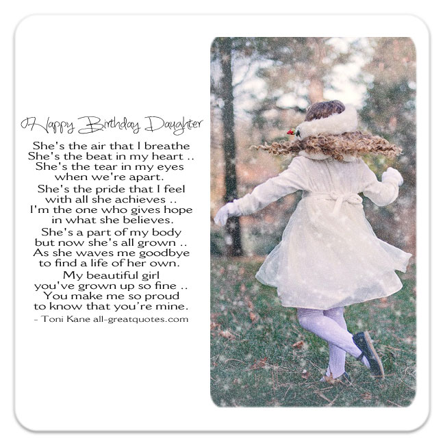 Happy Birthday Daughter Poem Card My Girl By
