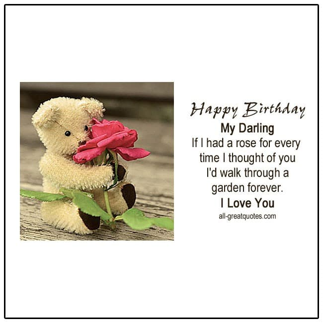 Happy Birthday My Darling I Love You Free Birthday Cards For Facebook