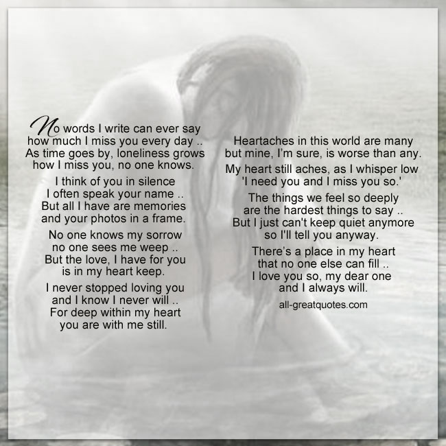 No Words I Write Can Ever Say Grief Poem