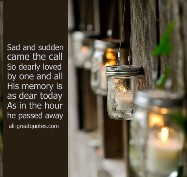 In Loving Memory Cards Sad and sudden came the call