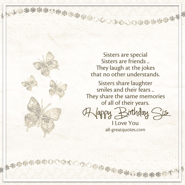 Free Birthday Cards For Sister | Sisters are special Sisters are friends