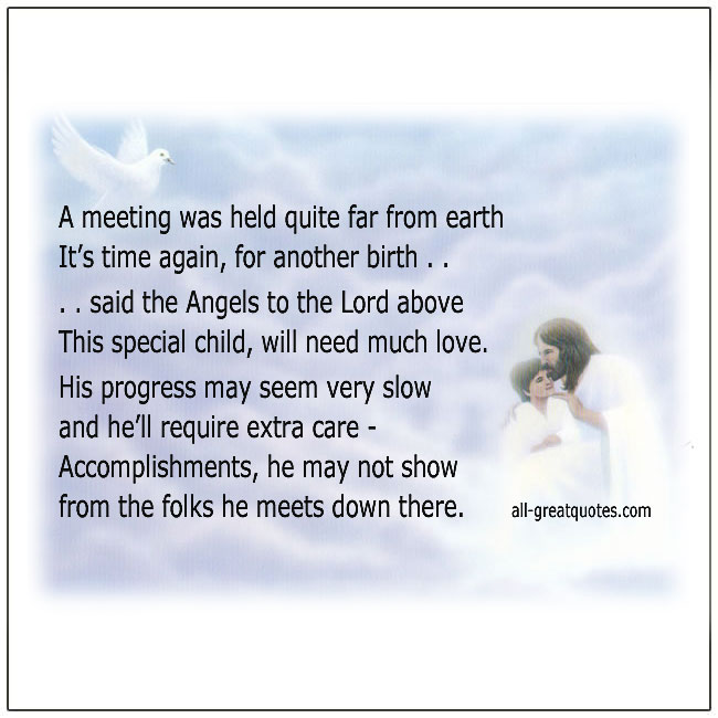 Special Needs Child Angel From Heaven Poem