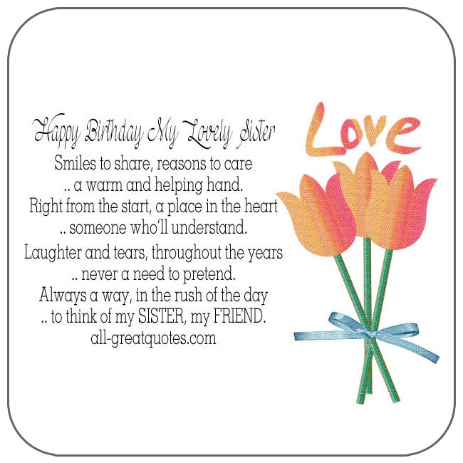 Share Happy Birthday Sister Cards – Happy Birthday to My Sister Cards