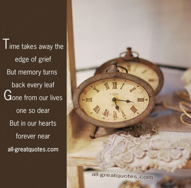 in loving memory cards time takes away the edge of grief