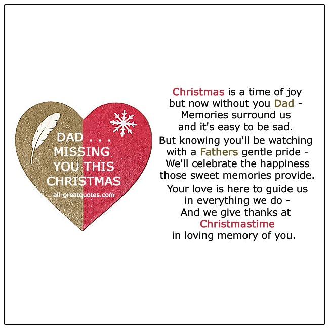Dad Missing You This Christmas Poem Dad In Heaven