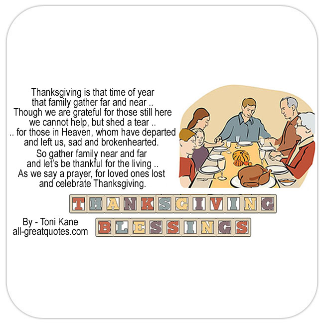In Loving Memory Cards For Thanksgiving - Family around table celebrating turkey.