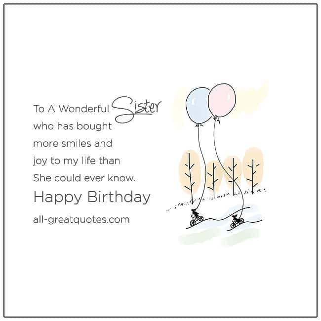 Happy Birthday Sister For A Wonderful Sister Birthday Card
